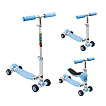 Fuzion 897266000857 Scoot 4 in 1-Ride On-Scooter-Balance Bike-Convertible Scooter-Training Scooter-Motor Skills Trainer, Blue