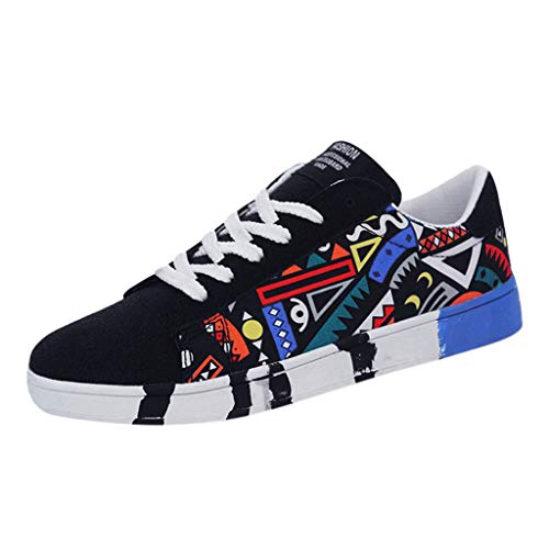 Sunhusing Men's Stylish Graffiti Printed Canvas Flat Shoes Casual Lace-Up Running Shoes Sneakers Blue