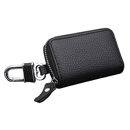 Cy3Lf Genuine Leather Remote Car Keychain Universal Key Holder Bag Black Zipper Case Cover Wallet Bag Shell Fob Ring