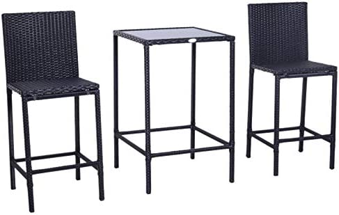 Outsunny 3 Piece Outdoor Patio Wicker Bar Set Outside Rattan Dining Table Chair Stool Set