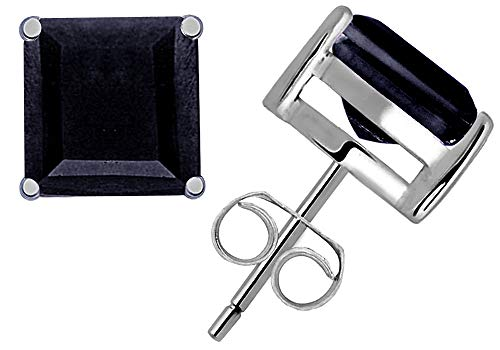 0.9 Ct Blue Sapphire Gemstone Birthstone 925 Sterling Silver Stud Earrings Princess-Cut 4x4mm For Women