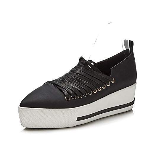 ZHZNVX Zapatos de Mujer Nappa Leather Spring & Summer Comfort Sneakers Creepers Blanco/Negro Black