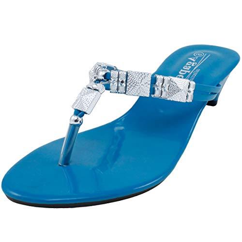 Agape HERO-56 Metallic Charms Thong Sandal Turquoise 7.5