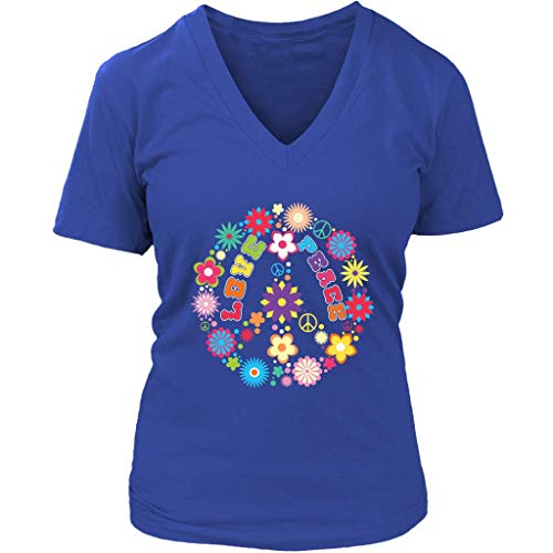 Peace Love Sign T-Shirt - Hippie Flowers Tee 60s Retro - Womens Plus Size up to 4X (Love And Plus T-shirt Size Peace)