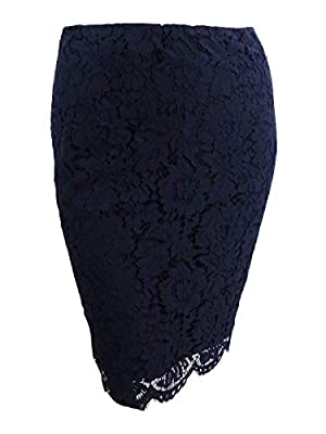 Lauren Ralph Lauren Womens Floral Lace Knee-Length Pencil Skirt