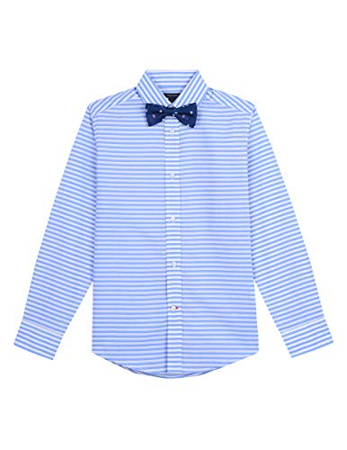 Tommy Hilfiger Boys Long Sleeve Dress Shirt with Bow Tie, Rebel Dragonfly, 14 ()