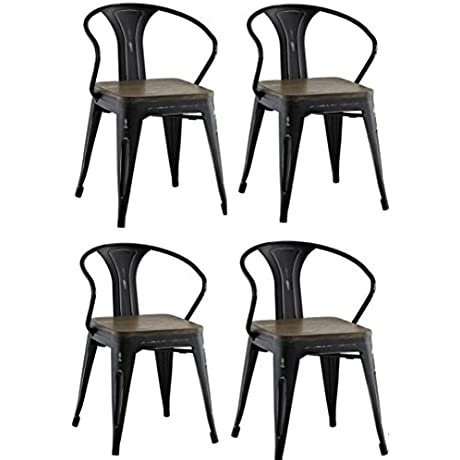 Tolix Industrial Style Metal And Rustic Wood Dining Arm Chairs Set Of 4