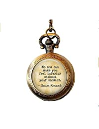 Inner Strength Necklace - Eleanor Roosevelt Quote - Women's Strength - MeToo - Inspirational Gift - Supportive Pocket Watch Necklace