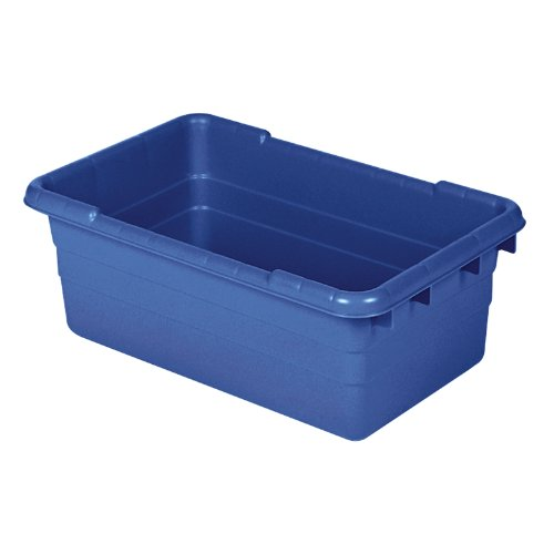 AKRO-MILS 34305 Jumbo Lug Plastic Nest and Cross Stack Tub Tote - 25'' x 16'' x 9'' - Case of 6 - Blue by Akro-Mils