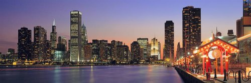 Walls 360 Peel & Stick Wall Mural: Navy Pier and Chicago Skyline (60 in x 20 in)