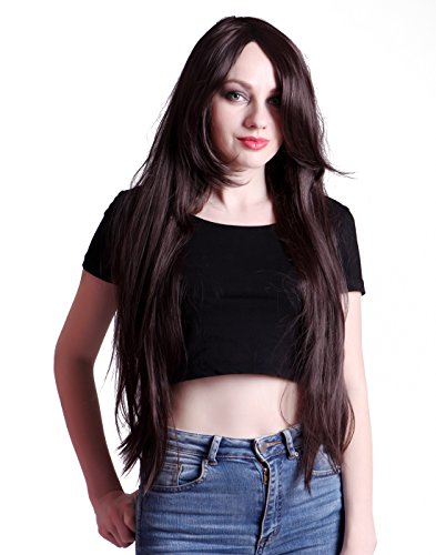 HDE Women's Wig Long Straight Hair Wig (32 Inches Total Length) with Included Wig Cap Synthetic Halloween Cosplay LARP Costume Accessory (Brunette)]()