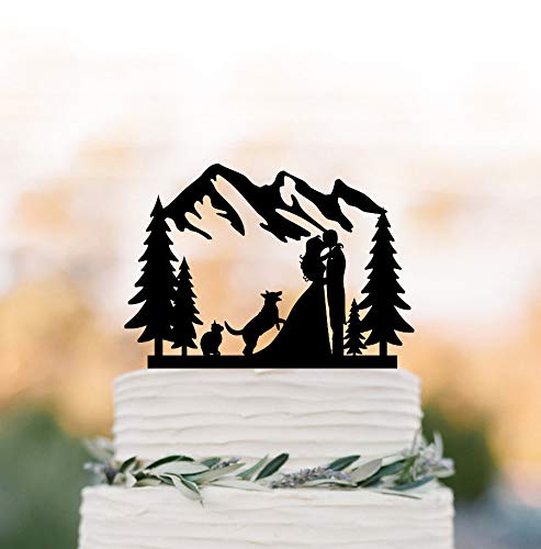 Arthuryerkes Outdoor Wedding Cake Topper Mountain with Dog and Cat Cake Topper Treebride and Groom Silhouette Cake Topper Outdoor Wedding Theme
