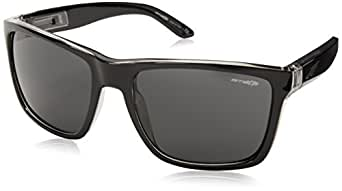 Arnette Witch Doctor - Gafa de sol rectangular color negro brillante con lentes color gris, 55 mm