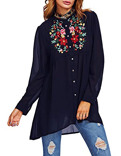 Romwe Women's Chiffon Embroidered Floral Button Down Long Sleeve Loose Blouse Top Navy(One Size)