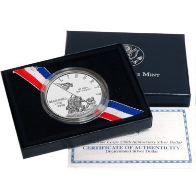 2005 Uncirculated Marine Corps Commemorative Silver Dollar w/Box by United States Mint