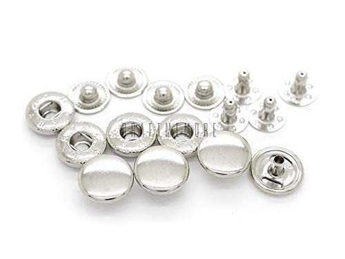 CRAFTMEmore 50 Pack Multi-Size Silver Snap Buttons S-Spring Socket Popper Fasteners Jacket Bag Closures (8mm (0.31