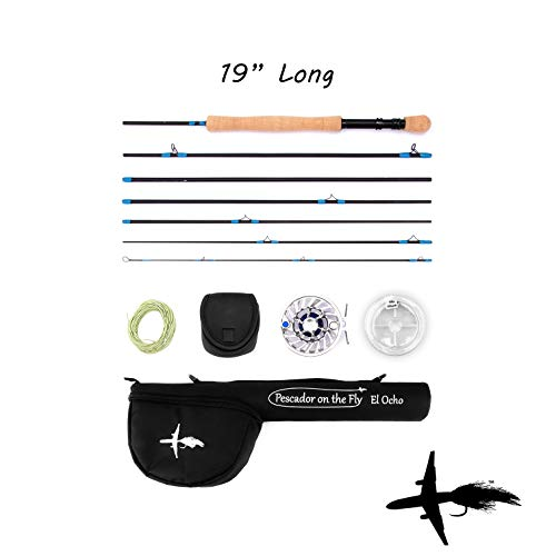 (Premium Fly Fishing Rod & Reel Combo | Travel Size | TSA Approved | Convenient Size Case | 7 Piece Set | IM10 Graphite Fly Rod | Stainless Steel Reel | Lightweight | 9 Feet Long | 8 Weight)
