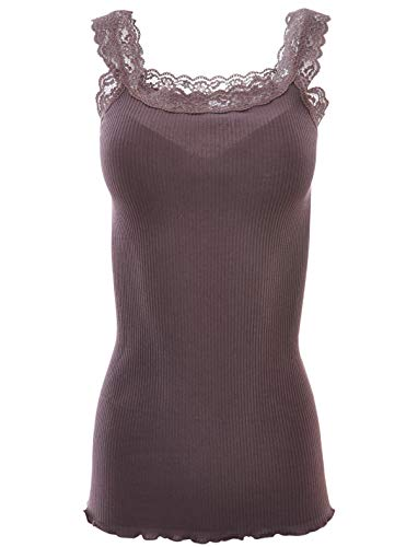 BASIC COTTON Free Spirit Premium Quality 100% Cotton Women's Lace Trim Tank Top. Proudly Made in Italy. (L/XL, Castagna)
