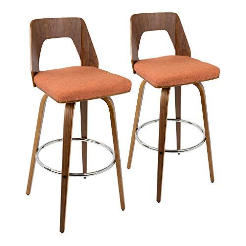 LumiSource 30 in. Barstool in Orange - Set of 2