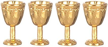 Dollhouse Miniature 1:12 Scale 4 Pc Antique Gold Goblets SET G8175