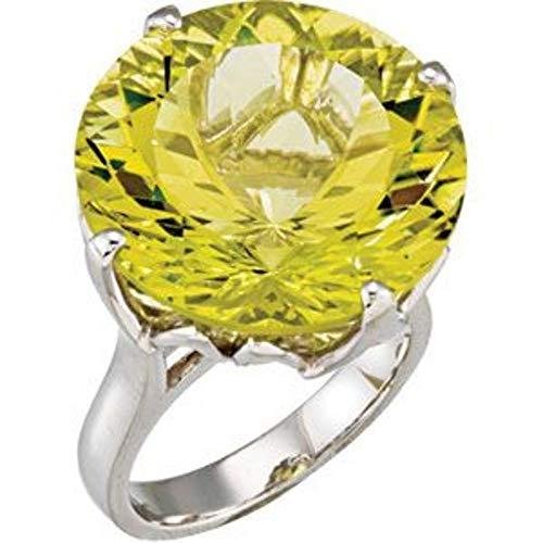 Bonyak Jewelry Sterling Silver Green Gold Quartz Ring - Size 7