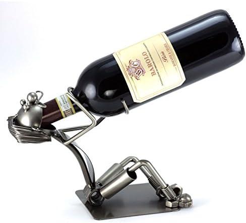 Steelman24 GILDE Dekorativer Flaschenhalter SCHLUCKSPECHT 28cm aus Metall 65062