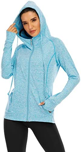 Zamowoty Womens Workout Jackets Full Zip Sports Running Hoodie Athletic Zipper Up Sweatshirt with Pockets