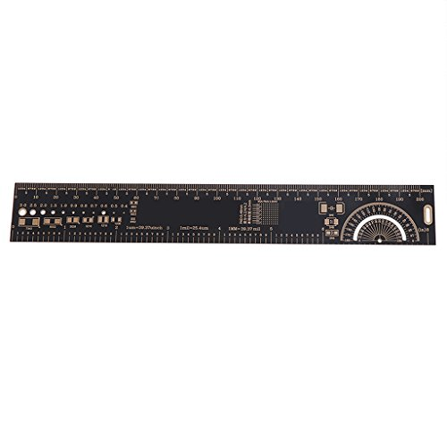 Misright 20cm PCB Ruler EDA Measuring Tool Reference Protractor Resistor Capacitor Chip