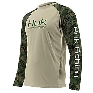 Huk Men's Double Header Vented Long Sleeve Shirt | Premium Fishing Shirt with +30 UPF Sun Protection, Sage, Medium