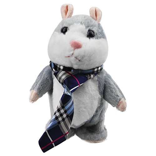 BXT Repeat Talking Walking Toy Cute Funny Hamster Plush Animal Electronic Interactive Pet Toy Christmas Gift