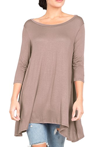 T2411PX 3/4 Sleeve Round Neck Relaxed A-Line Tunic T Shirt Top Mocha 1X by Love In