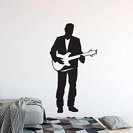 Mhdxmp Guitarra Eléctrica Etiqueta De La Pared Singer Man Con Guitarra Vinilo Tatuajes De Pared Home