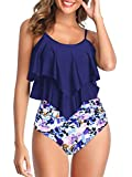 Womens Tankini Swimsuits High Waisted Bathing Suits Tummy Control Ruffled Top Swimwear Two Piece Swimming Suits 19 Navy-Purple Floral 10-12