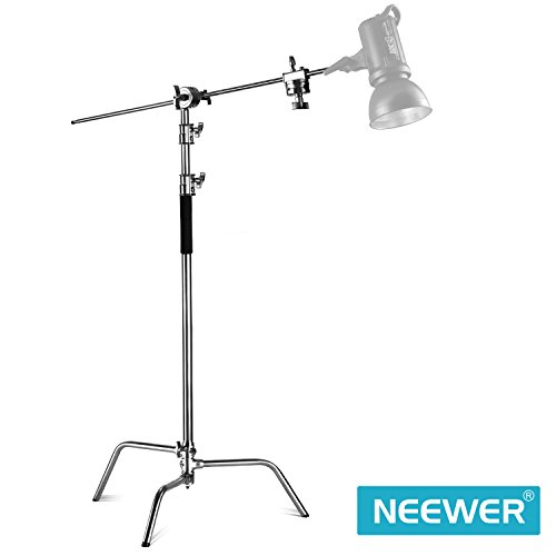 Neewer Pro 100% Metal Max Height 10 feet/305 centimeters Adjustable Reflector Stand with 4 feet/120 centimeters Holding Arm and 2 Pieces Grip Head for Photography Studio Video Reflector, Monolight by Neewer