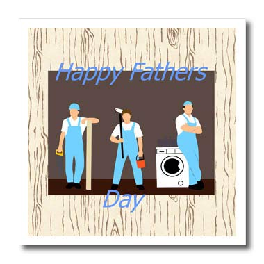 3dRose Lens Art by Florene - Fathers Day - Image of Happy Fathers Day Workman in Uniform On Aged Wood - 10x10 Iron on Heat Transfer for White Material (ht_312630_3)