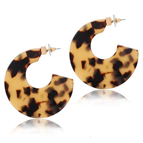 Acrylic Hoop Earrings Upgraded Statement Circle Flat Resin Earrings Acetate Geometric Stud Earrings for Women