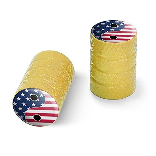 オートバイ自転車バイクタイヤリムホイールアルミバルブステムキャップ - イエローアメリカの愛国心と羊のアメリカの旗