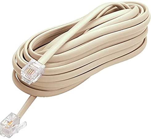 25ft FLAT PHONE LINE CABLE WIRE BEIGE EXTENSION CORD