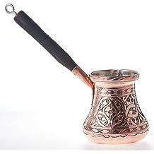 MisterCopper Heavy Duty Engraved Copper Turkish Greek Coffee Pot Stovetop Coffee Maker Cezve Ibrik Briki with Wooden Handle X-LARGE (15 Oz)