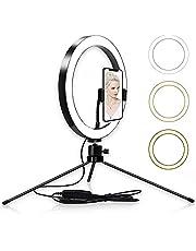 Arespark 10'' Selfie Ring Light LED Desktop Selfie Ring Light USB Desk Lamp Table Lamp with Tripod Stand Smart Phone Holder Remote Control for Photography/Makeup/Live Streaming/Fill Light (Black)