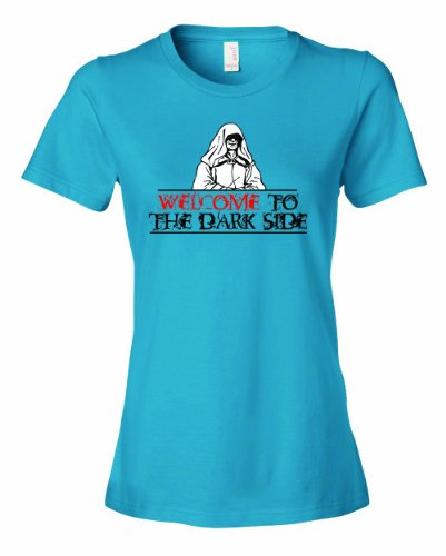 Ladies Welcome To The Dark Side. T-Shirt-Carb Blue-Large (Halloween Jokes Funny One Liners)