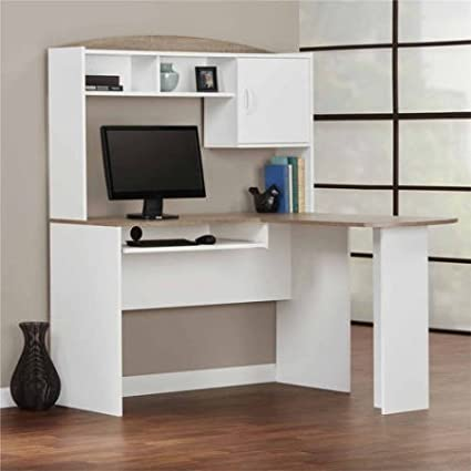 Corner L Shaped Office Desk With Hutch, White