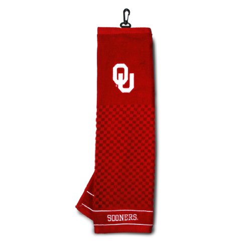 Team Golf NCAA Oklahoma Sooners Embroidered Golf Towel, Checkered Scrubber Design, Embroidered Logo