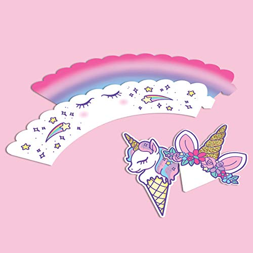 xo, Fetti Unicorn Cupcake Toppers + Wrappers | Unicorn Party Supplies + Unicorn Birthday Cupcake Decorations - Set of 24 by xo, Fetti (Image #3)