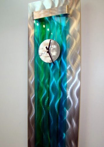 Bright Colorful Modern Abstract 3D Metal Wall Clock Sculpture - Contemporary Fun Unique Office Home Hand-Made Art Accent - Ocean Breeze Clock by Jon Allen - 48-inch