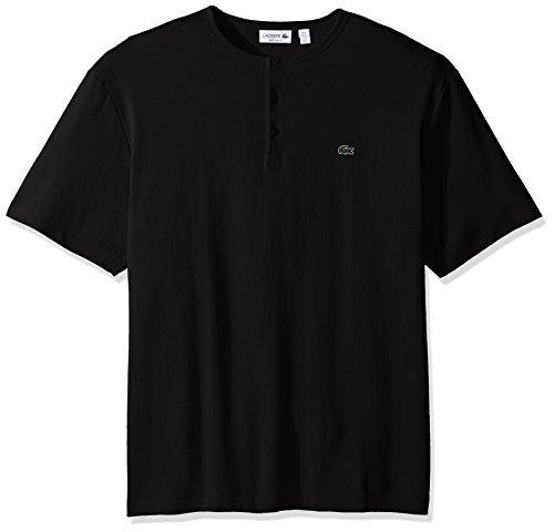 Lacoste Men's Double Face Cotton Henley T-Shirt, TH1892-51, Black, (Lacoste Cotton Henley)