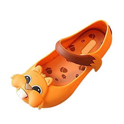 Hzjundasi Kinder Baby M?dchen Jungen Anti-Rutsch Squirrel Weich Gelee L?ssige Flache Schuhe Kleinkind Strand Sandalen Regen Stiefel Gelb