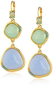 "T Tahari ""Spring Frost"" Double Stone Drop Earrings"