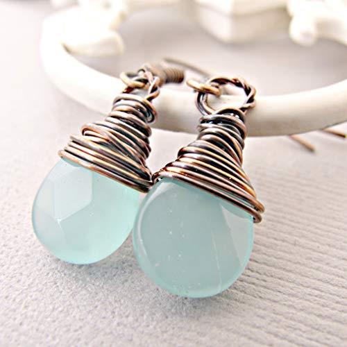 Chalcedony Blue Earrings, Copper Earrings, Mixed Metal, Best Mothers Day Gift