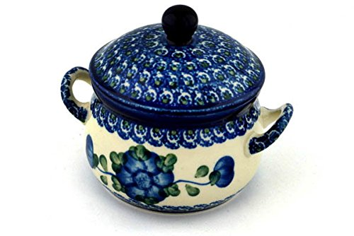 Polish Pottery Bouillon Cup with Lid 12 oz Blue Poppies Boleslawiec